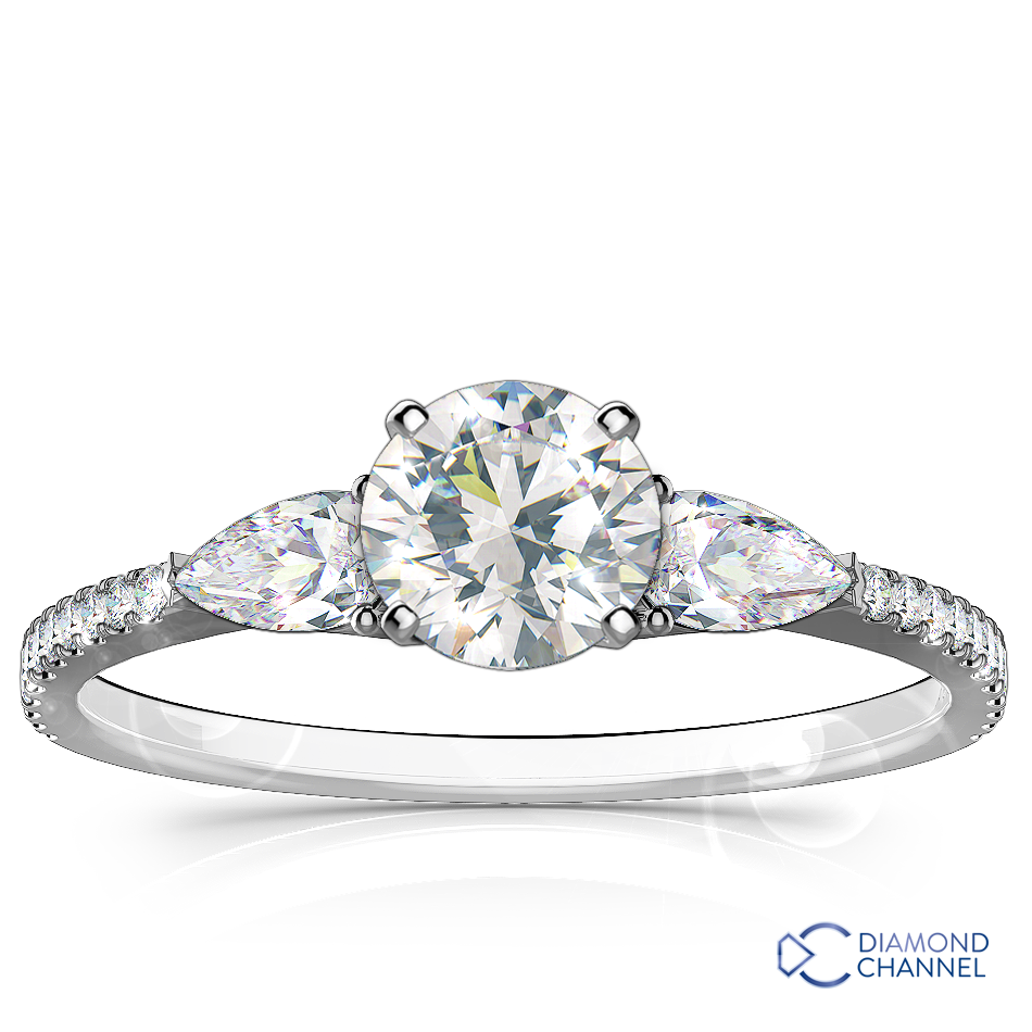 Pear Shape & Pavé Diamond Engagement Ring