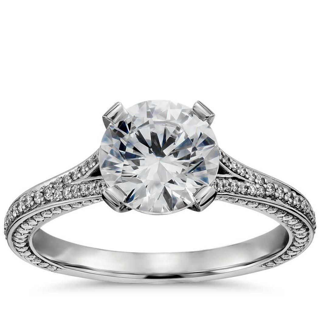 Regal Pavé Diamond Engagement Ring