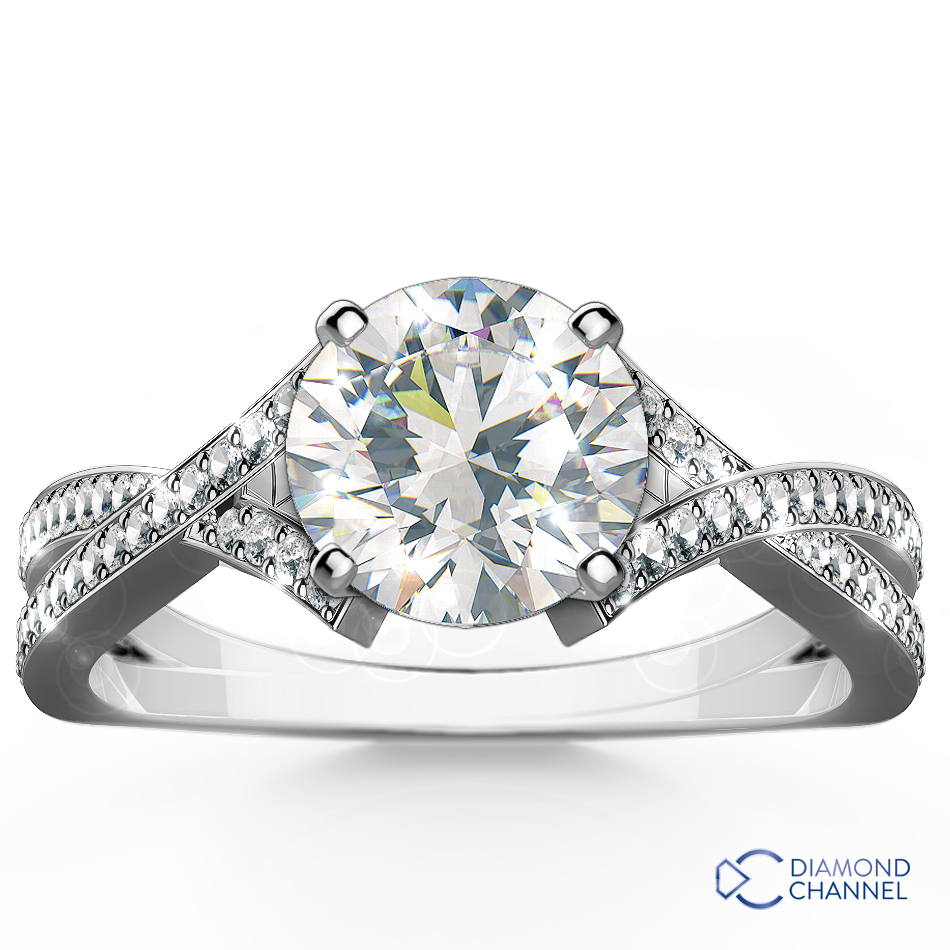 Intertwined Pavé Diamond Engagement Ring