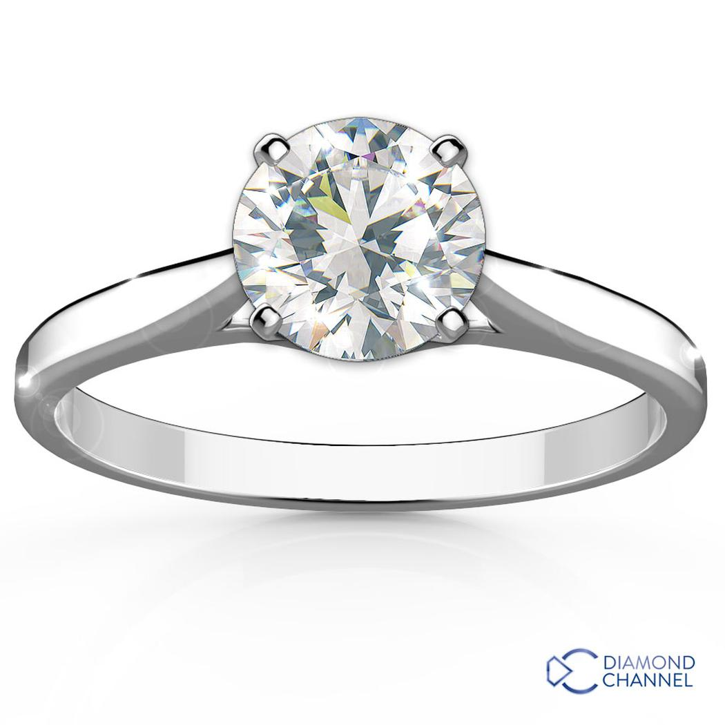 Petite Cathedral Solitaire Diamond Engagement Ring