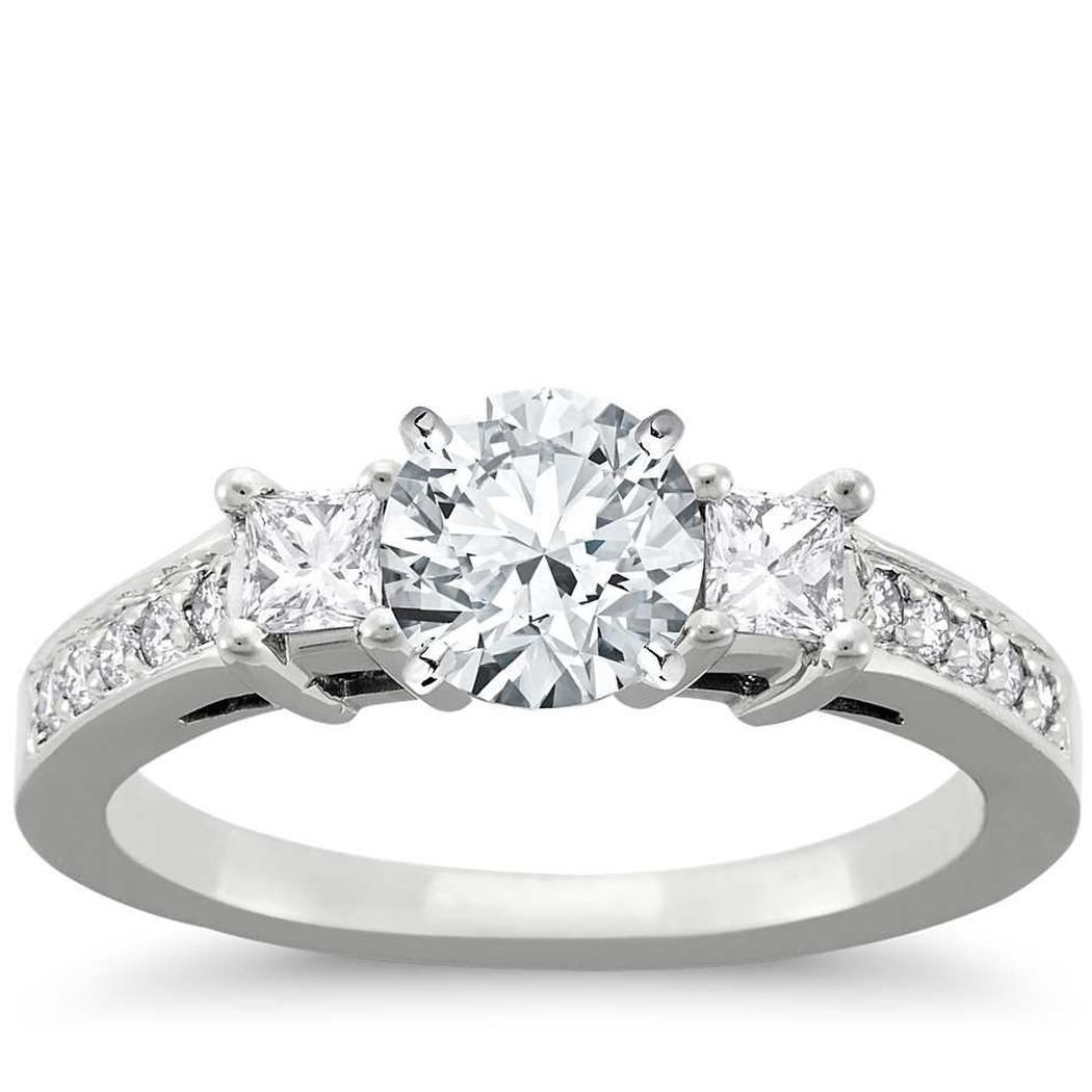 Trio Pave Diamond Engagement Ring