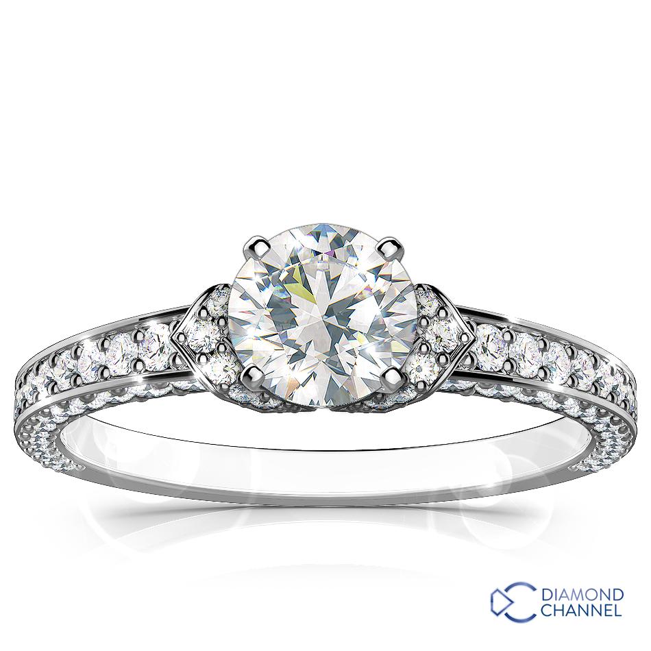 Micro-Pave Diamond Engagement Ring