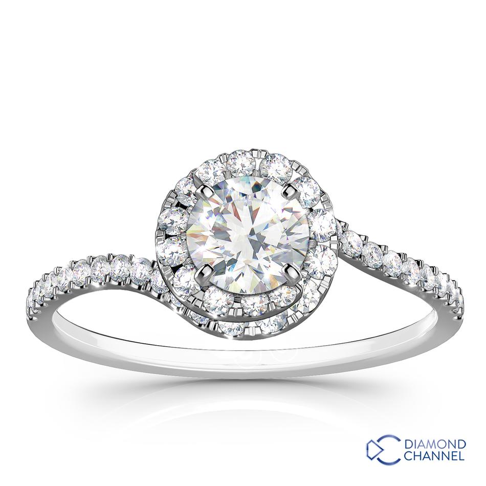 Spiral Halo Pavé Diamond Engagement Ring