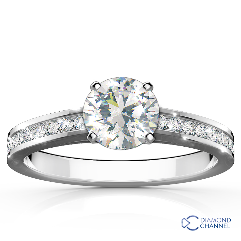 Channel Set Cathedral Engagement Ring