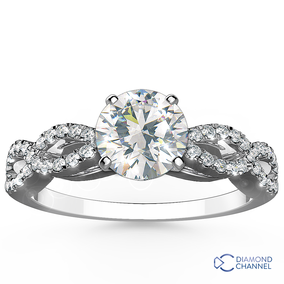 Infinity Twisted  Micropave Diamond Engagement Ring