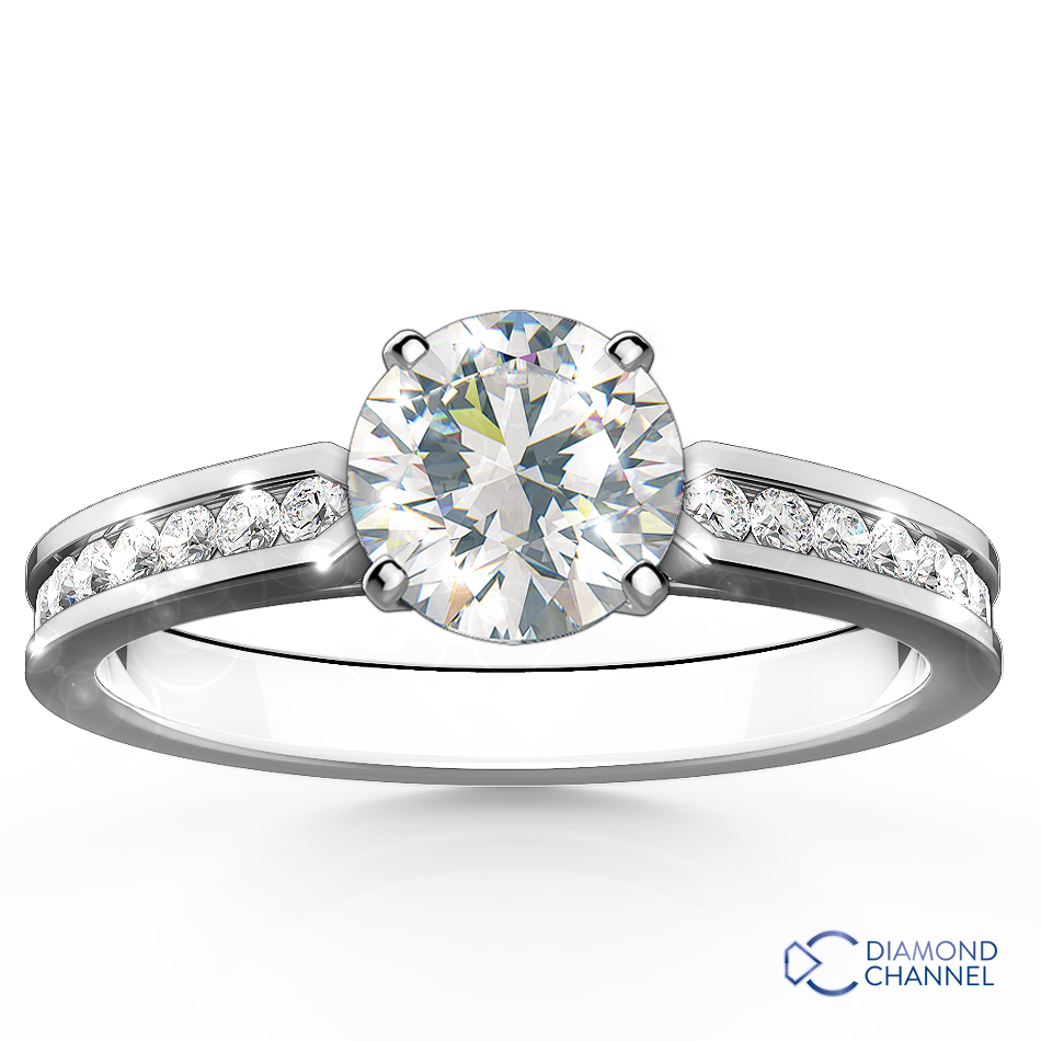 Pointed Cathedral Channel Set Engagement Ring