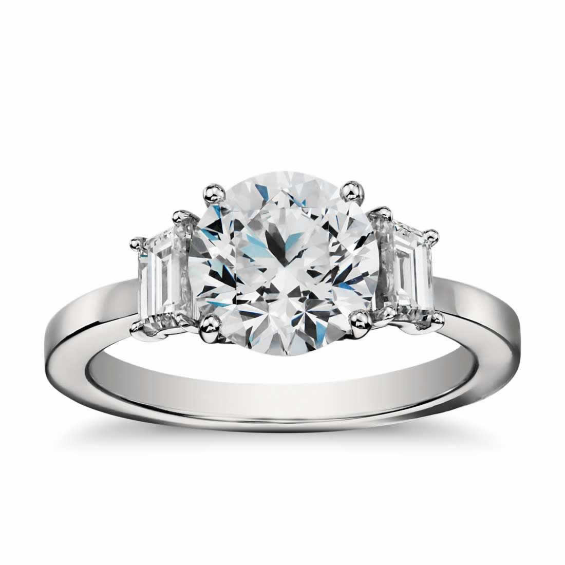 Step Cut Baguette Diamond Engagement Ring