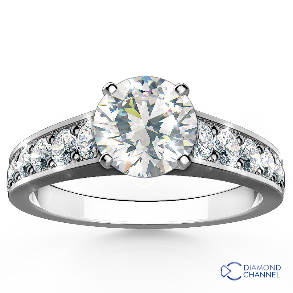 Modern Graduating Side Stone Engagement Ring