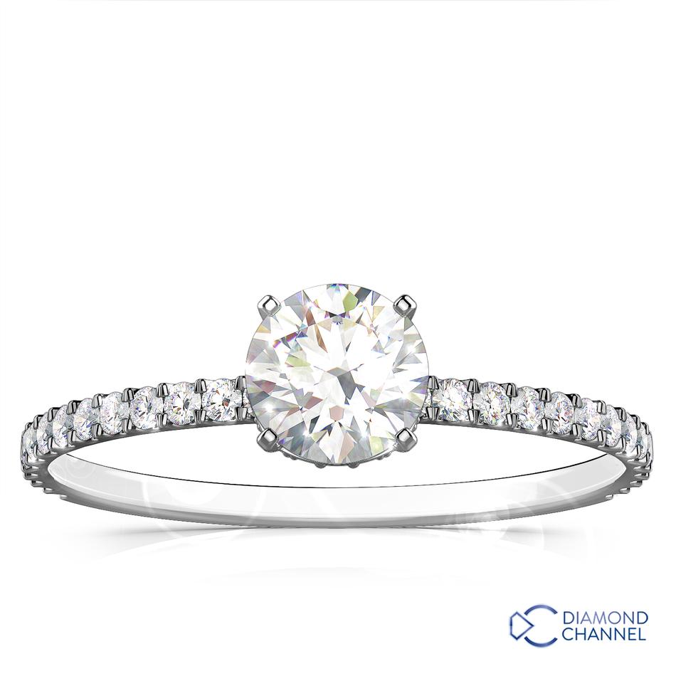 Petite Pavé Crown Diamond Engagement Ring