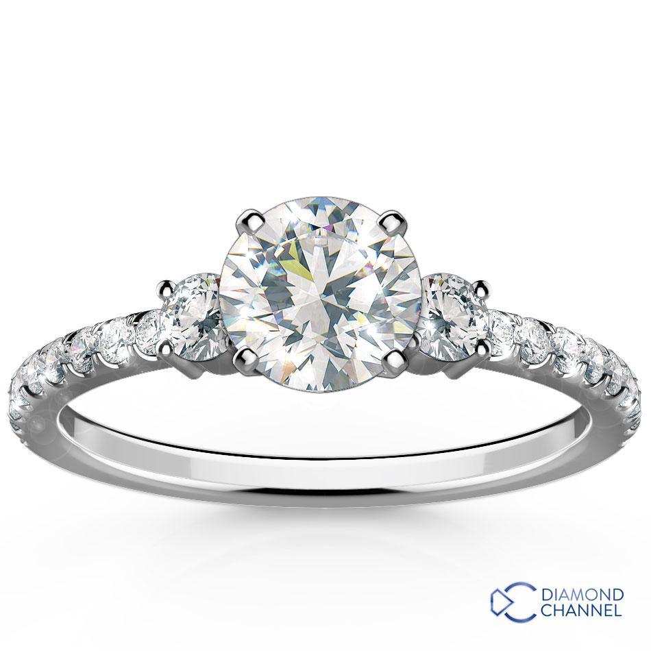 Petite Micropave Trio Diamond Engagement Ring