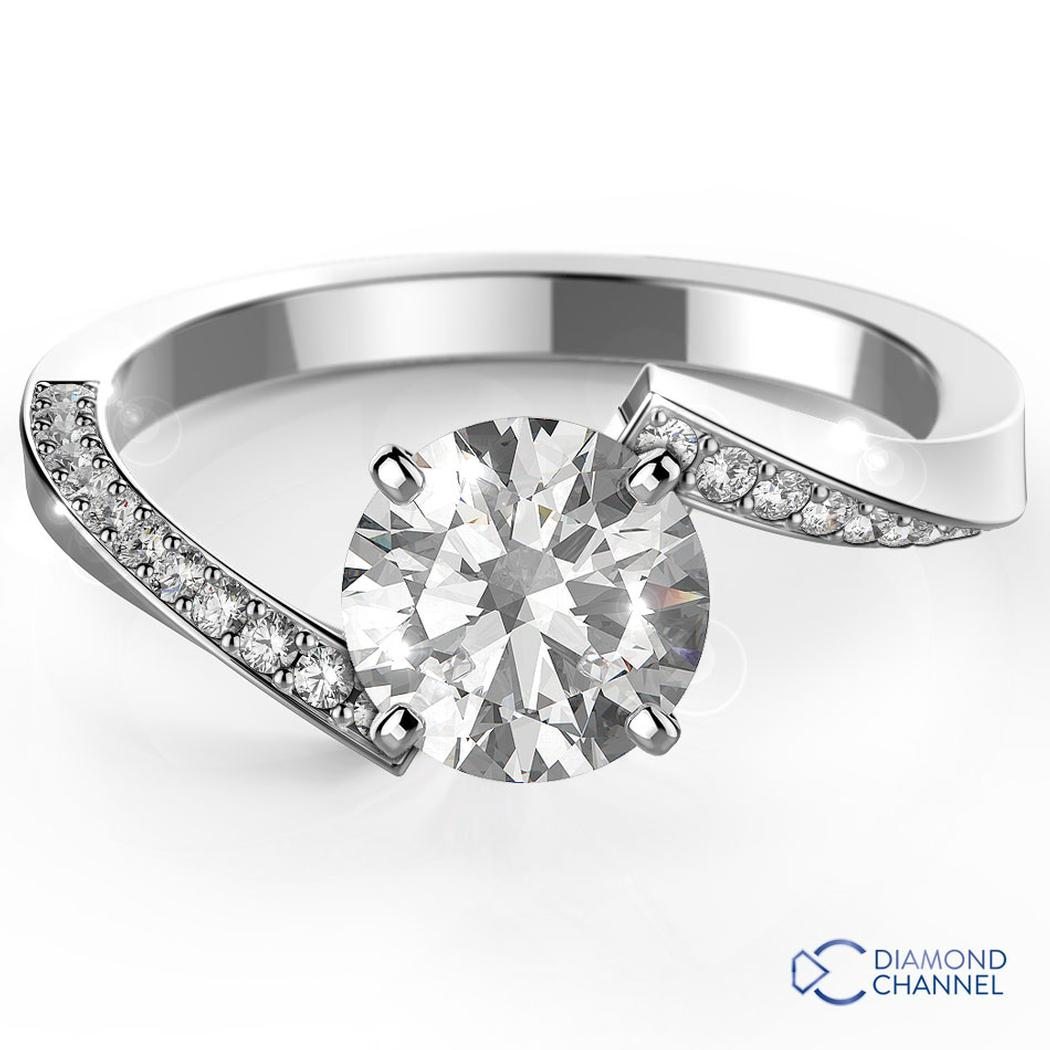 Twist Prong Set Side Stone Engagement Ring