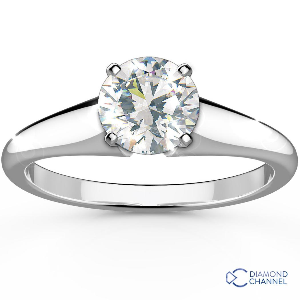 Flared Set Solitaire Engagement Ring