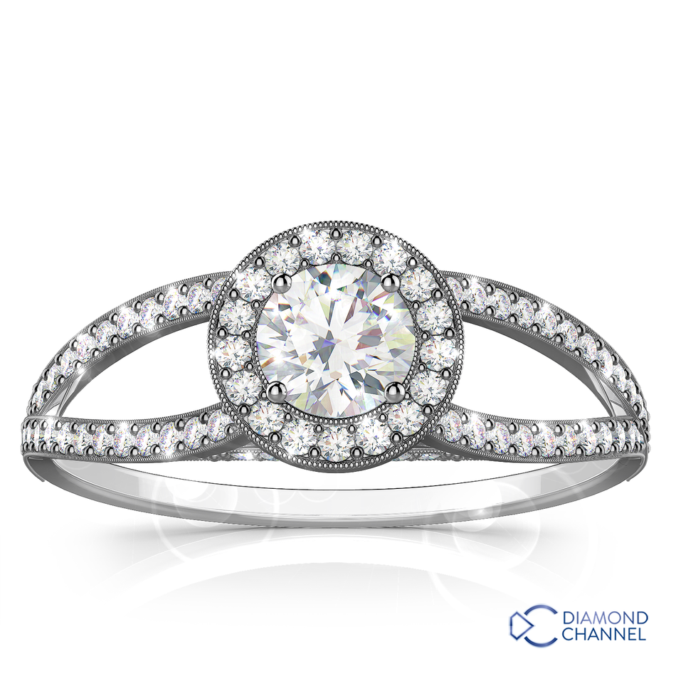 Split Shank Halo Milgrain Engagement Ring