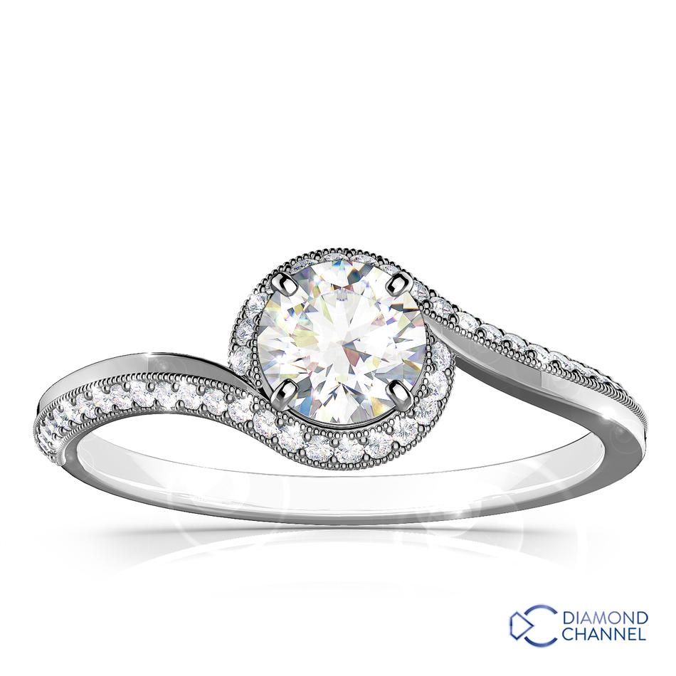 Twist Bezel Set Side Stone Engagement Ring