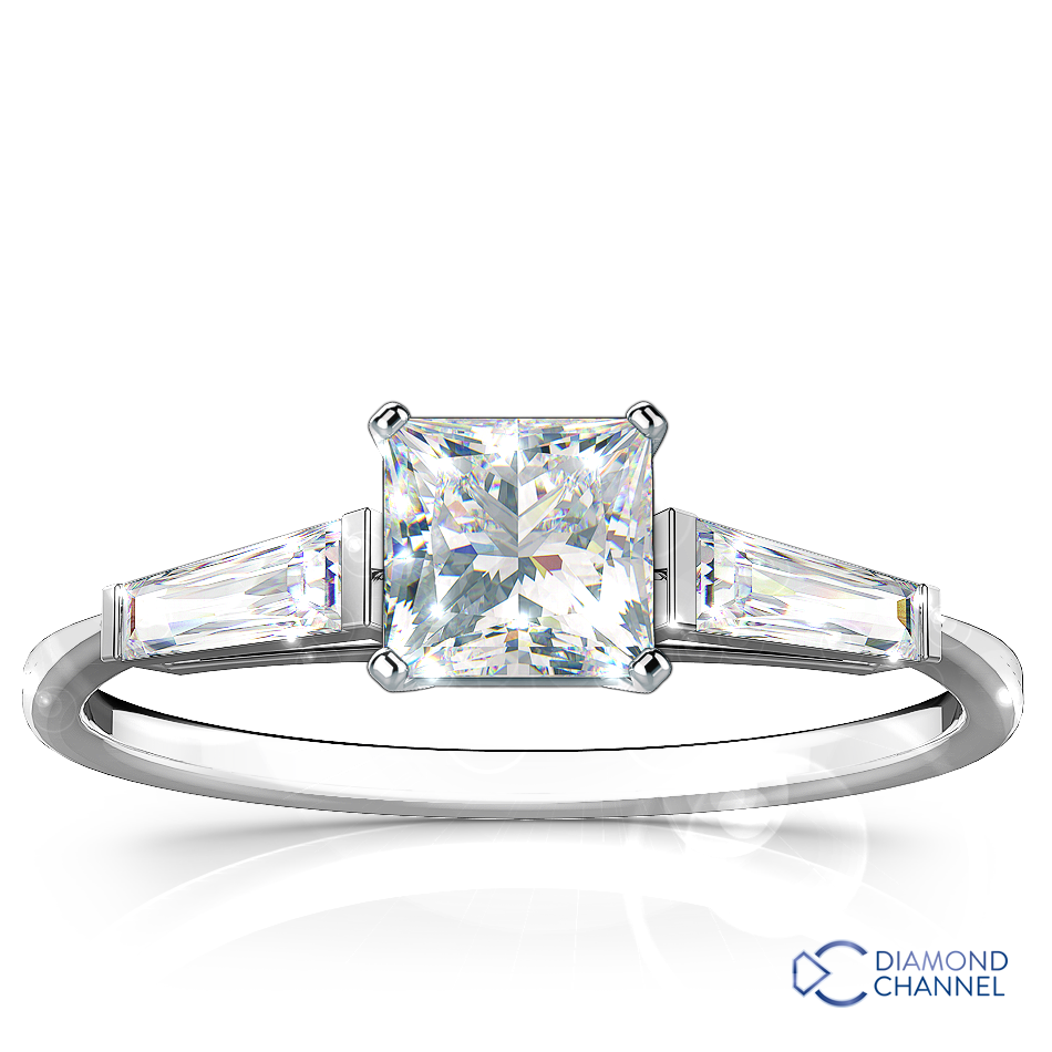 Three Stone Princess Cut Tapered Baguette Diamond Engagement Ring