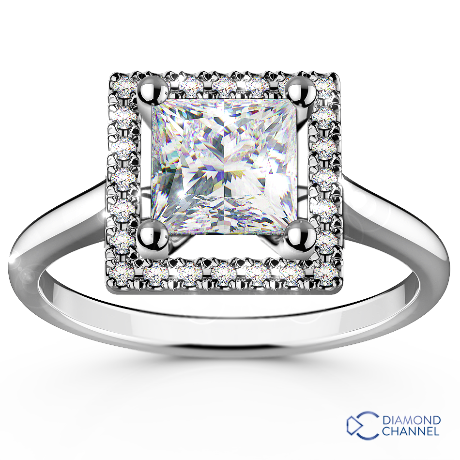 Princess Cut Floating Halo Diamond Engagement Ring
