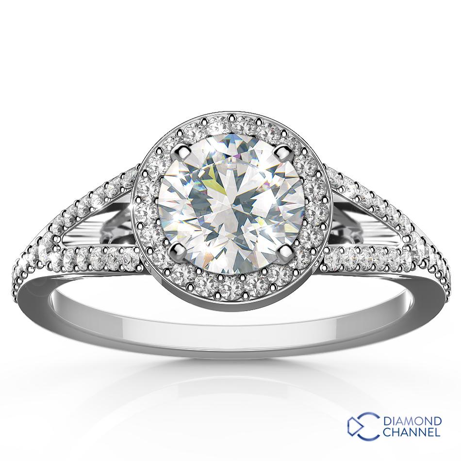 Split Shank Halo Engagement Ring Setting