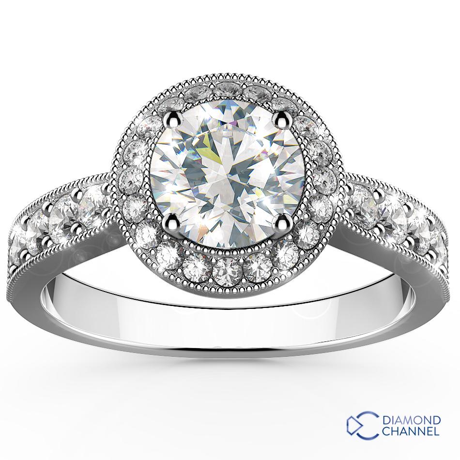 Halo Pave Set Side Stone Engagement Ring