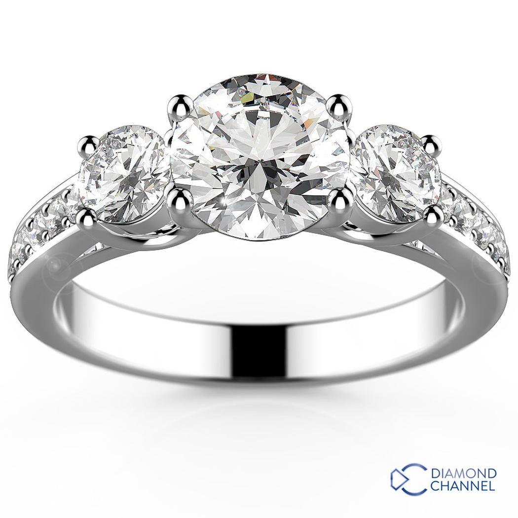 Three-Stone Pavé Diamond Engagement Ring
