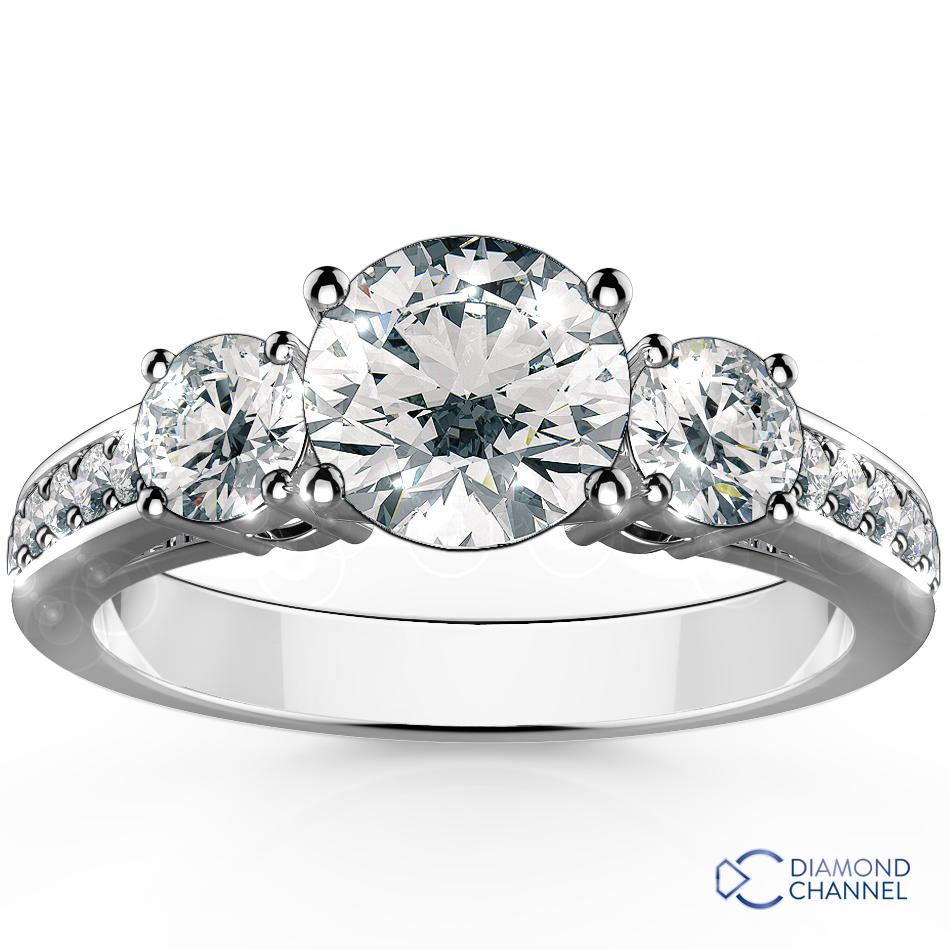 Three Stone Pavé Diamond Engagement Ring