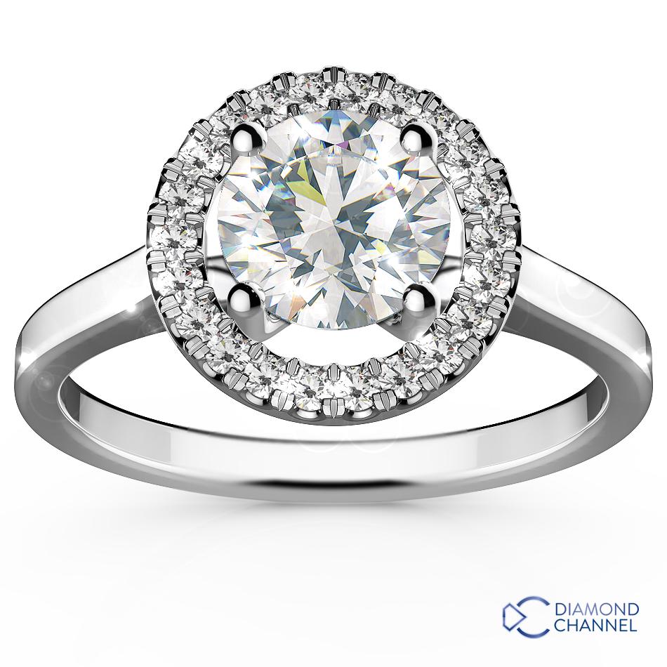 Plain Shank Halo Engagement Ring