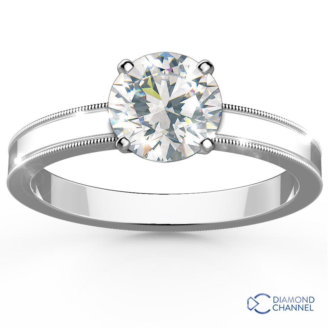 Milgrain Comfort Fit Solitaire Engagement Ring