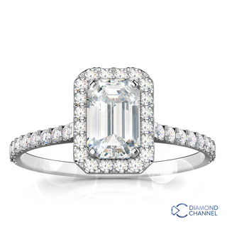 Emerald Cut Halo Floating Diamond Ring in 9K White Gold(0.76ct tw)