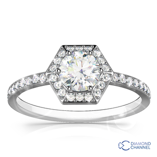 Hexagon Halo Design Diamond Ring In 9K White Gold(0.63ct tw)