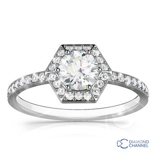 Hexagon Halo Design Diamond Ring In 9K White Gold(0.63ct tw)