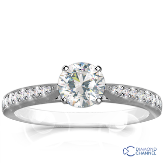 Sidestone Pave Set Diamond Engagement Ring (0.62ct tw)