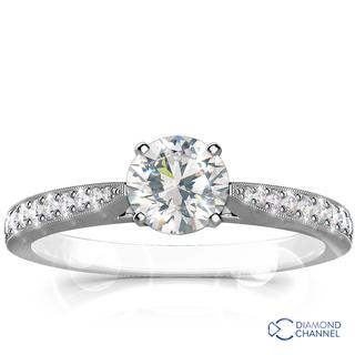 Sidestone Pave Set Diamond Engagement Ring (0.62ct tw)