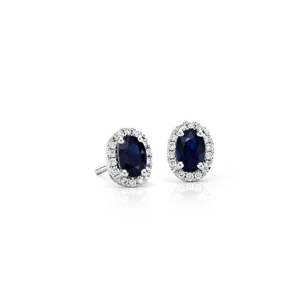 d6e73e6816ac Oval Sapphire Stud Earrings In 9K White Gold (6x4mm)
