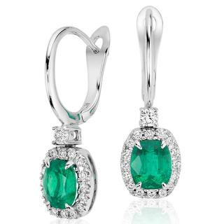 Cushion Emerald and Diamond Drop Earrings in 9k white gold