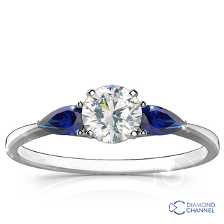 Three Stone Sapphire -Diamond Ring in 9k White Gold (0.84ct tw)
