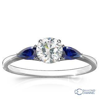 Three Stone Sapphire -Diamond Ring in 9k White Gold (0.84ct tw)