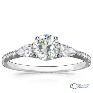 Pear Shape & Pave Diamond Engagement Ring In 9K White Gold (0.50ct tw)