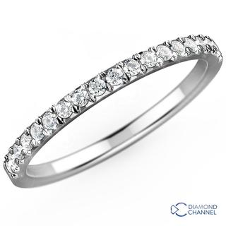 French Pave-Set Diamond Eternity Ring In 9K White Gold(0.20ct tw)