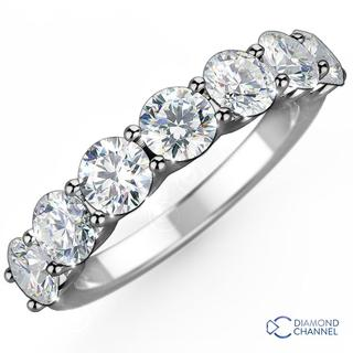 Seven Stone U Collet Eternity Diamond Ring in 9K White Gold (0.35ct tw)