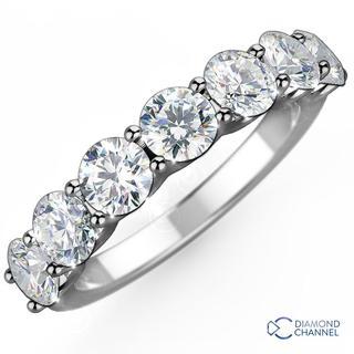 Seven Stone U Collet Eternity Diamond Ring in 9K White Gold (0.35ct tw)