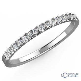 Petite Cathedral Pave Diamond Ring in 9K White Gold (0.32ct tw)