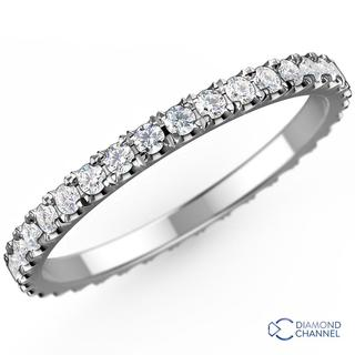 Pave Diamond Eternity Ring In 9K White Gold(0.36ct tw)