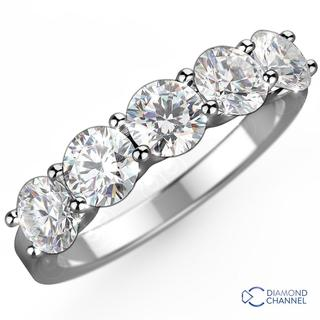 Five Stone Diamond Ring in 9K White Gold (0.50ct tw)