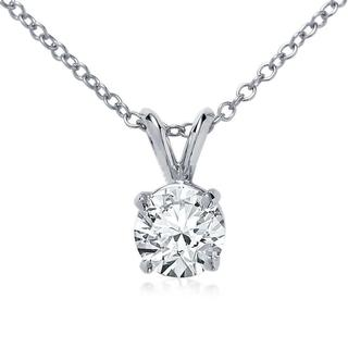 Double Bail Solitaire Pendant in 9K White Gold (0.25ct tw)