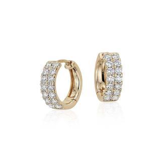 Petite Diamond Hoop Earrings In 9K Yellow Gold (0.56ct tw)