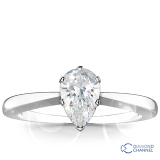 Solitaire Pear Shape Diamond Ring (Pr-0.36ct t.w)