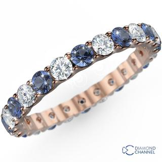 Pave Sapphire And Diamond Eternity Ring In 18K White Gold(0.48ct tw)