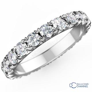 French Pave Diamond Eternity Ring in 9K White Gold (0.36ct tw)