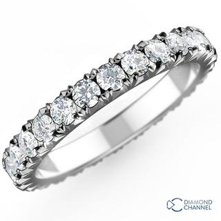 French Pave-Set  Diamond Eternity Ring in 9K White Gold (0.48ct tw)