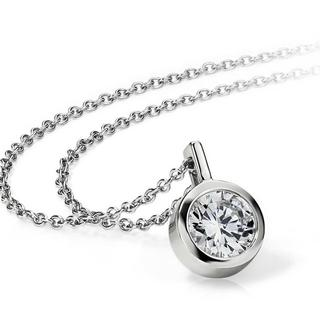 Bezel Set Solitaire Pendant in 9K White Gold (0.31ct  tw)