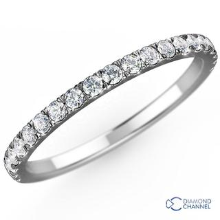 Petite Pave Eternity Diamond Ring in 9K White Gold (0.48ct  tw)